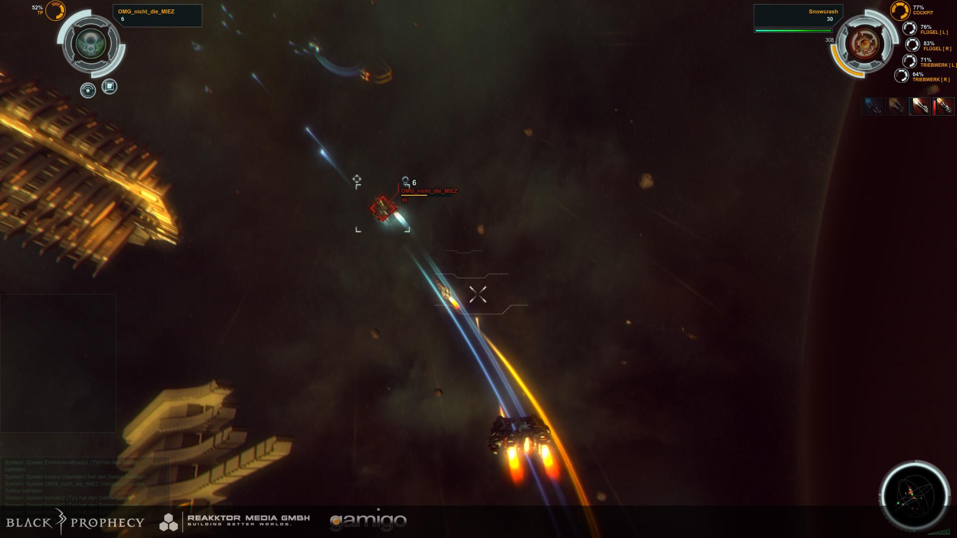 Скриншоты схватки между силами Tyi и Genide в секторе Apo Kata